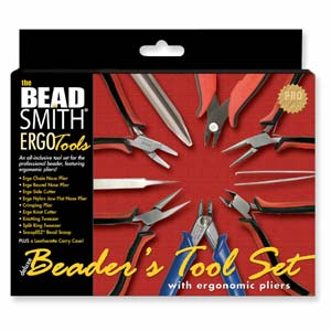 Beadsmith Deluxe Beaders Ergo Plier Tool Set 9 piece in Leatherette Case