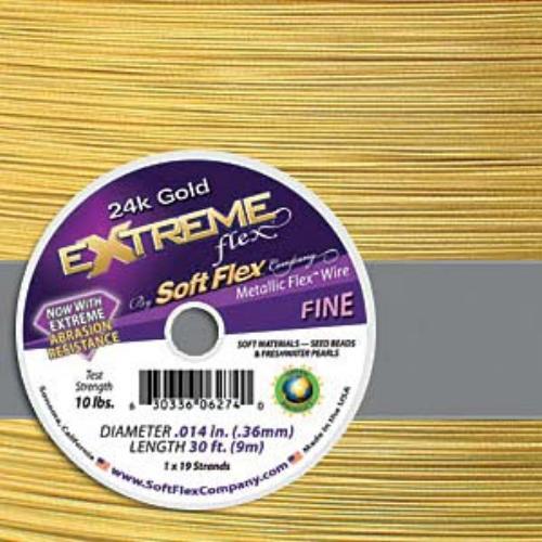 Extreme 24k Gold Soft Flex 19 Strand Wire .014 10ft / 3.05m