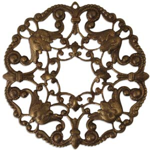 Vintaj Natural Brass - 49mm Ornate Wreath Filigree W/Hole