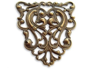 Vintaj Natural Brass 38 x 40mm Nouveau Crest Filigree x1