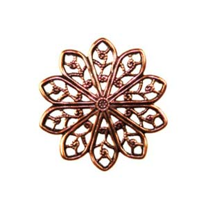 Trinity Brass Antique Copper 20mm Round Filigree x1
