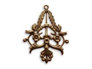 Vintaj Natural Brass 25x33mm Fanned Trellis Filigree x1
