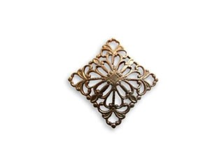 Vintaj Natural Brass 20mm Square Dapped Filigree - wrap x1
