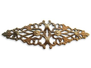 Vintaj Natural Brass 64x21mm Diamond Trellis Filigree - Wrap x1