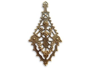 Vintaj Natural Brass 26x55mm Etruscan Drop Filigree x1