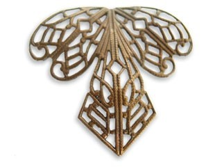 Vintaj Natural Brass 38x35mm Orchid Filigree x1