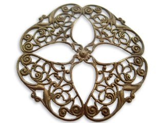 Brass VINTAJ - Natural 48mm Openwork Flower Filigree x1