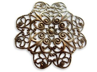 Vintaj Natural Brass 38mm Gerbera Petal Filigree x1