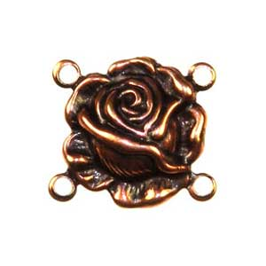 Trinity Brass Antique Copper 14x14mm Rose 4 Ring Connector x1