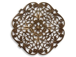 Vintaj Natural Brass 46mm Peony Filigree x1