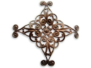 Vintaj Natural Brass- 44mm Diamond Swirl Filigree x1