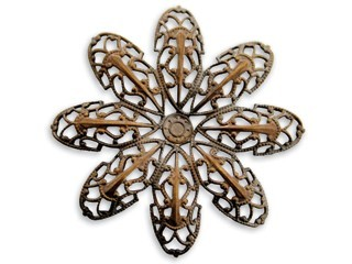 Vintaj Natural Brass - 42mm round Passion Flower Petal Filigree x1