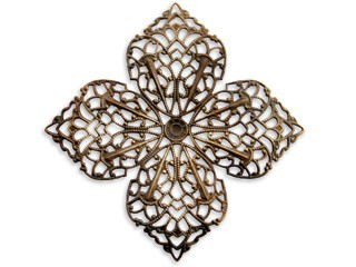 Vintaj Natural Brass - 59mm Clover Petal Filigree x1