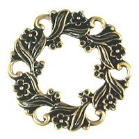 Trinity Brass Antique Gold 26mm Floral Circle Connector x1