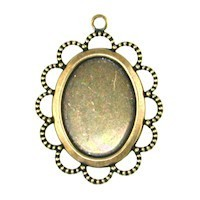Trinity Brass Antique Gold 18x13mm Lace Edge Oval Setting x1