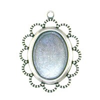 Trinity Brass Antique Silver 18x13mm Lace Edge Oval Setting x1