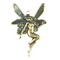 Trinity Brass Antique Gold 43x30mm Large Fairy Pendant x1
