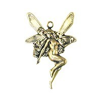 Trinity Brass Antique Gold 25x17mm Small Fairy Drop West Facing x1