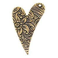Trinity Brass Antique Gold 26x17mm Floral Engraved Heart Drop (right) x1