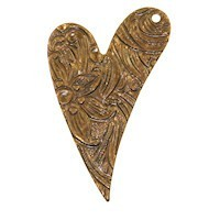 Trinity Brass Vintage Patina 26x17mm Floral Engraved Heart Drop (right) x1