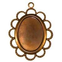 Trinity Brass Vintage Patina 25x18mm Beaded Lace Edge Setting x1