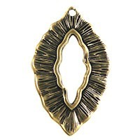 Trinity Brass Antique Gold 25x16mm Small Leaf Charm / Toggle x1