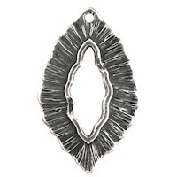 Trinity Brass Antique Silver 25x16mm Small Leaf Charm / Toggle x1