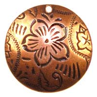 Trinity Brass Antique Copper 20mm Dancing Flower Pendant x1