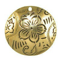 Trinity Brass Antique Gold 20mm Dancing Flower Pendant x1