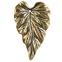 Trinity Brass Antique Gold 37x23mm Leaf Pendant x1