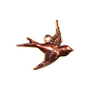 Trinity Brass Antique Copper 16x17mm Bird Charm East Facing x1