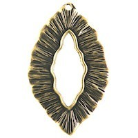 Trinity Brass Antique Gold 38x24mm Large Leaf Pendant / Toggle x1