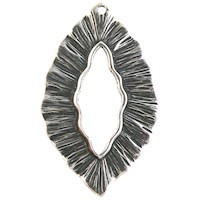 Trinity Brass Antique Silver 38x24mm Large Leaf Pendant / Toggle x1