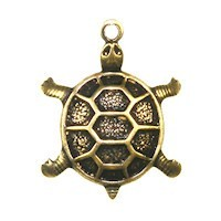 Trinity Brass Antique Gold 18x14mm Turtle Charm x1