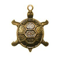 Trinity Brass Vintage Patina 18x14mm Turtle Charm x1