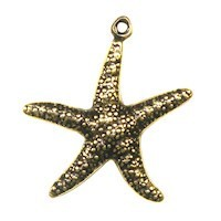 Trinity Brass Antique Gold 23x20mm Star Fish Charm x1