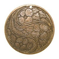 Trinity Brass Vintage Patina 31mm Swirling Flower Pendant x1
