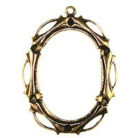 Trinity Brass Antique Gold 25x18mm Open Work Setting x1