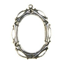 Trinity Brass Antique Silver 25x18mm Open Work Setting x1