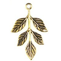 Trinity Brass Antique Gold 36x23.5mm Leaf Sprig Drop x1