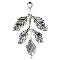 Trinity Brass Antique Silver 36x23.5mm Leaf Sprig Drop x1