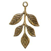 Trinity Brass Vintage Patina 36x23.5mm Leaf Sprig Drop x1