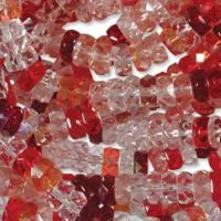 Czech Glass Fire Polished beads - 6/3mm Rondelle Strawberry Field x60