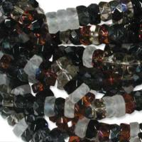 Czech Glass Fire Polished beads - 6/3mm Rondelle Pebblestone x60