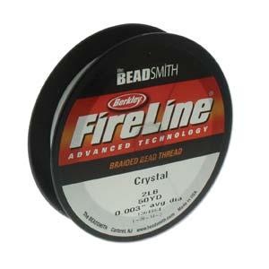 FireLine Braided Bead Thread .003 in/.07mm diameter 2LB 50yd, Crystal Clear