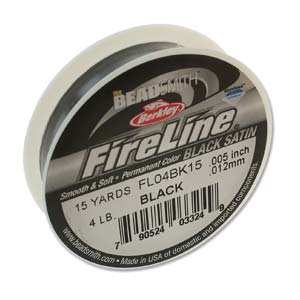 FireLine Braided Bead Thread .005 in/.12mm diameter 4LB 15yd, Black Satin