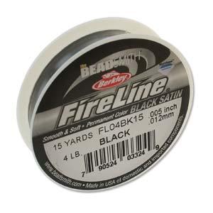 FireLine Braided Bead Thread .005 in/.12mm diameter 4LB 15yd, Black Satin