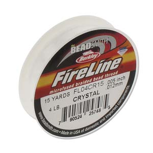 FireLine Braided Bead Thread .005 in/0.12mm diameter 4LB 15yd, Crystal Clear