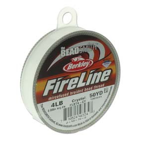 FireLine Braided Bead Thread .005 in/.12mm diameter 4LB 50yd, Crystal Clear