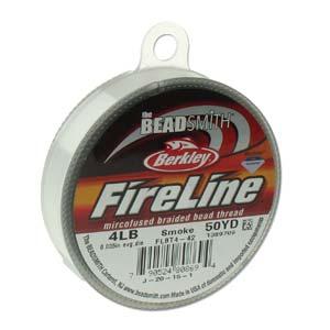 FireLine Braided Bead Thread .005 in/ 0.012mm diameter 4LB 50yd, Smoke